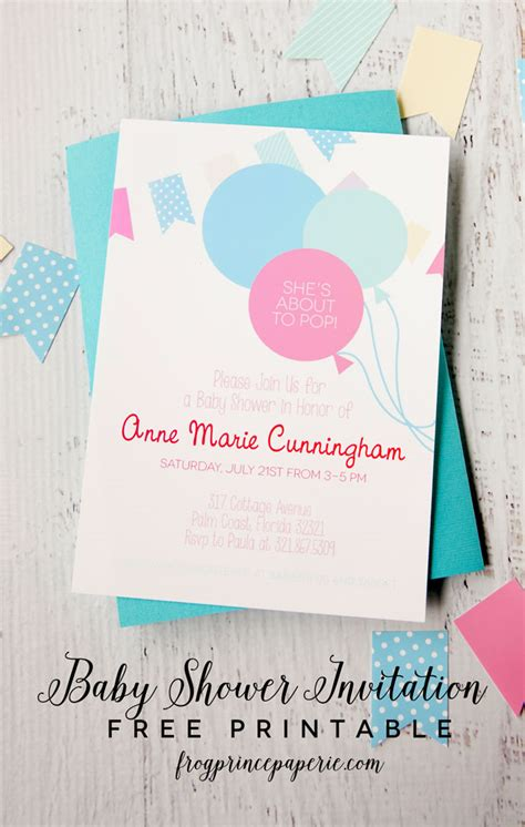 Free Printable Baby Shower Invitations For - about to pop free printable baby shower invitation frog
