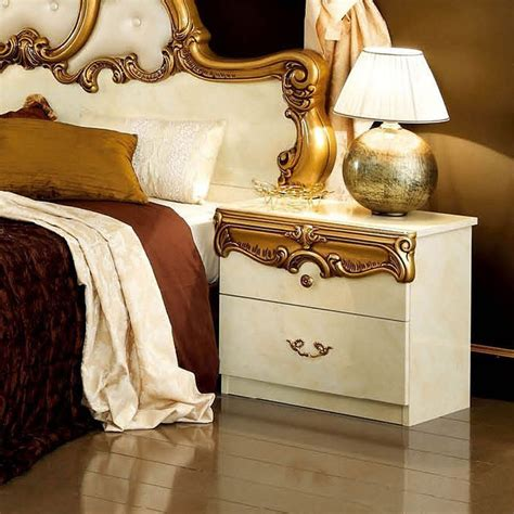 Barocco Panel Bed (Ivory and Gold)  Bedroom Furniture