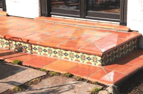 traditional handmade terra cotta floor tile and stair