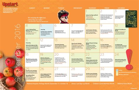 childrens activity calendar september