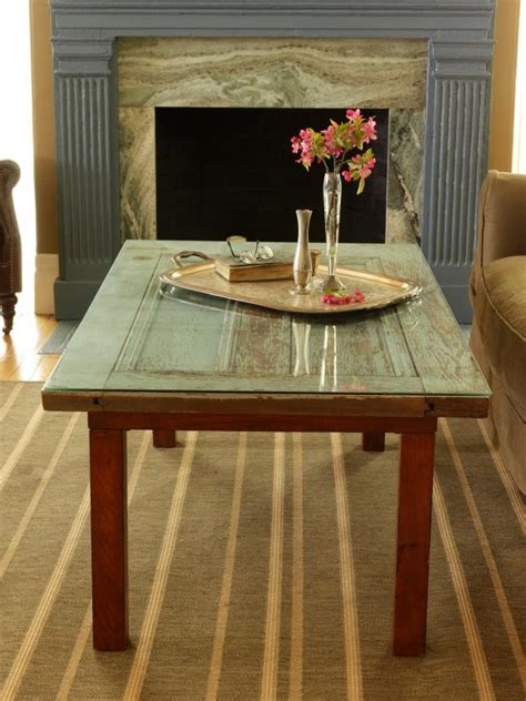 using a table as a desk how to repurpose a door into a coffee table how tos diy