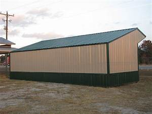 16x36 run in shelter loafing shed with steel truss and With 30x50 shed