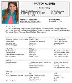 Sample acting resume for beginners