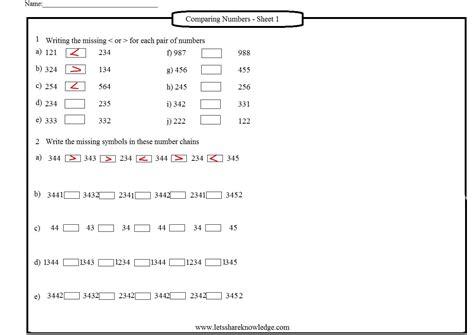 worksheet comparing numbers worksheets 1st grade grass