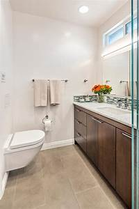 Contemporary, Bathroom, With, Floating, Modern, Toilet, Wood, Vanity, Cabinets, And, Thin, Tile, Backsplash