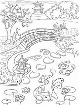 Coloring Lake Mountain Landscape Nature Pond Fish Koi Printable Cartoon Both sketch template