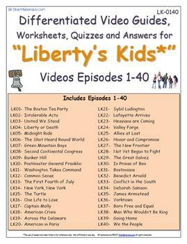 A Liberty's Kids ** Episode 0140  Worksheet, Ans Sheet, Four Quizzeslk0140