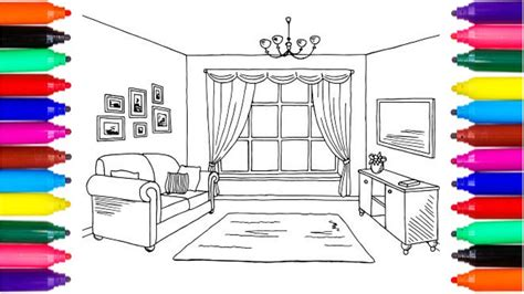coloring pages living room drawing pages  color