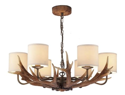 ant0629 antler 6 light pendant chandelier with