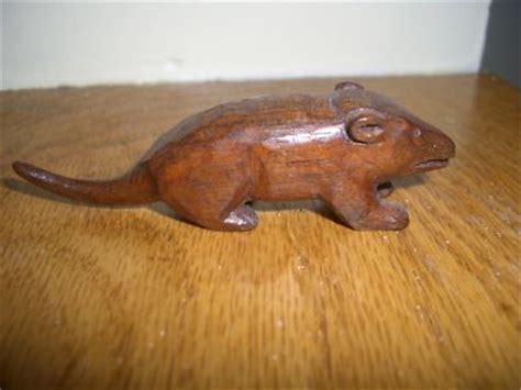 antique vintage hand carved wood wooden mouse