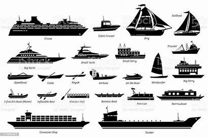 Boats Ships Type Water Transportation Different Icon
