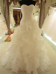 2014 hot sale real picture organza ruffle wedding dress for Wedding dress with ruffles on bottom