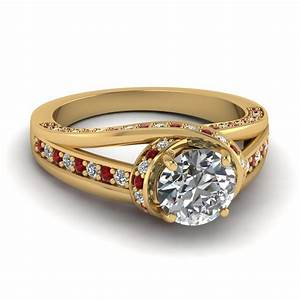 Criss Cross Halo Engagement Ring With Ruby In 14K Yellow ...