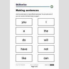 Printable Sentence Structure Worksheets