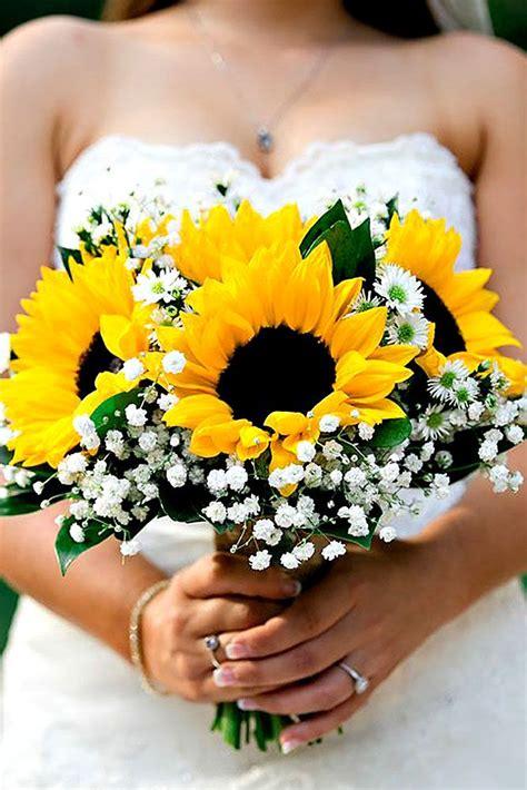 24 Brilliant Sunflower Wedding Bouquets For Happy Wedding