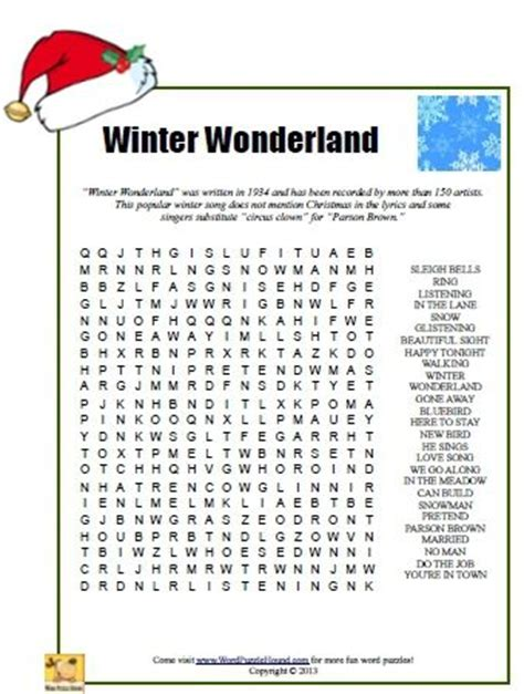 winter wonderland word search christmas printable puzzle middle school reading writing