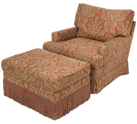 fabric chair with ottoman chair and ottoman upholstered in wool paisley fabric at