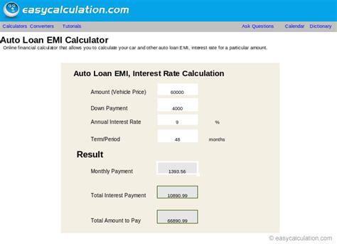 excel auto loan emi calculator spreadsheet
