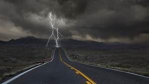nature landscape clouds lightning horizon road