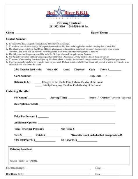 catering contract  printable documents