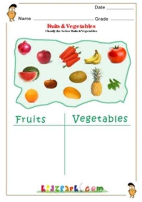 fruits vegetables science worksheets  kindergarten