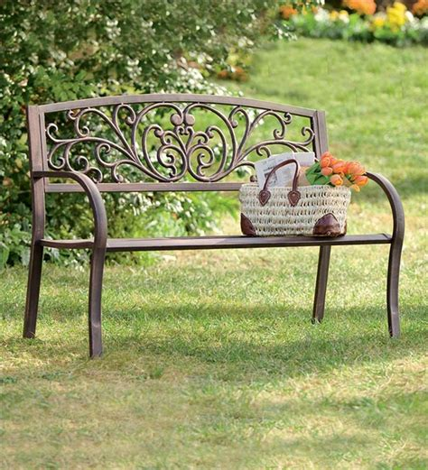 metal garden bench outdoor chairs benches plow hearth