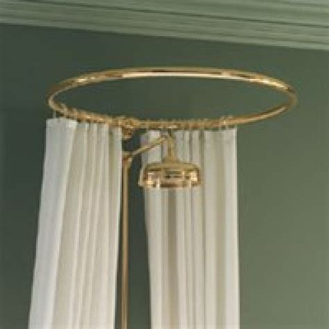 circular shower curtain rail wall fixing in polished brass
