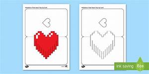simple valentine39s pixel heart pop up card paper craft With pop out heart card template