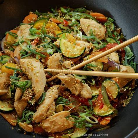 recette wok de poulet sauté aux légumes et au sésame