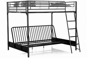 lit mezzanine avec banquette convertible integree noir With tapis design avec lit mezzanine avec canapé convertible