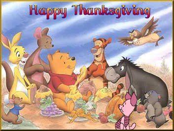 disney characters winnie  poo happy thanksgiving