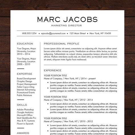 Professional Cv Format In Ms Word by Modern Resume Template Cv Template For Pages Word