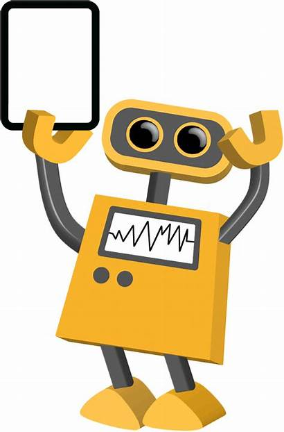 Robot Transparent Tablet Hand Background Yellow Clipart