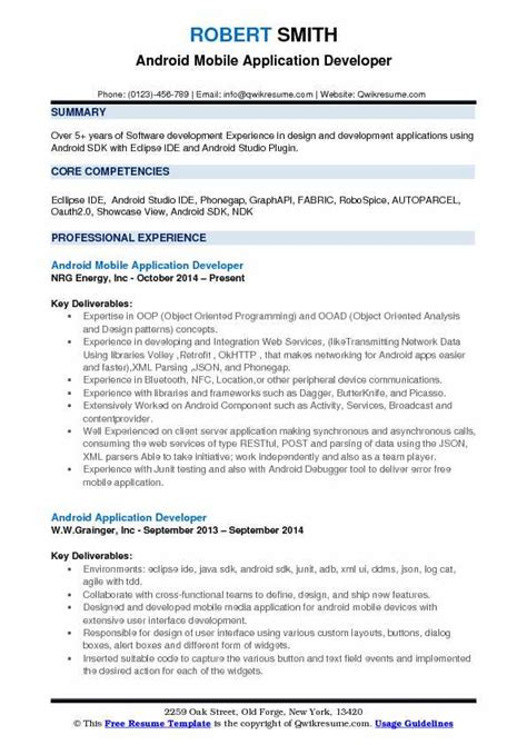 Experienced Resume Exles by Resume Headline For Experienced Android Developer The
