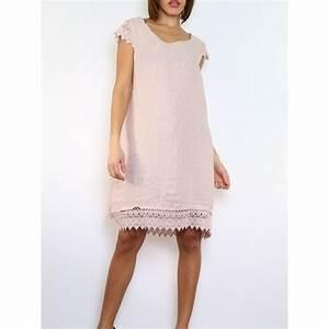 robe en lin rose pale avec manches en dentelle macrame With robe de cocktail combiné avec bracelet montre taille