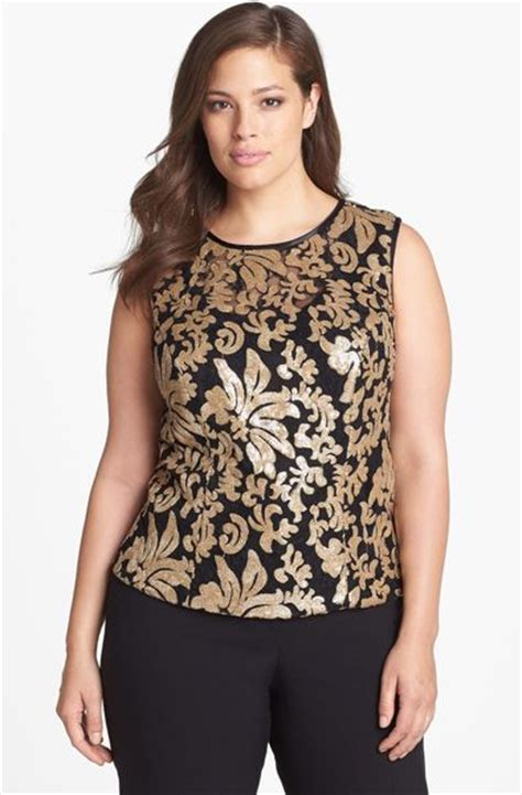 black and gold blouse alex evenings sequin lace sleeveless blouse in black