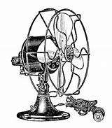 Electric Clip Fans Steampunk Fan Graphics Summer Drawing Retro Electrical Antique Fairy Victorian Graphic Cool Enlarge Cooling Face Wait sketch template