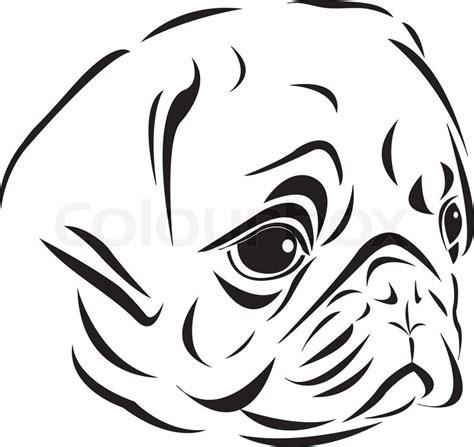 art style  pug head stock vector colourbox