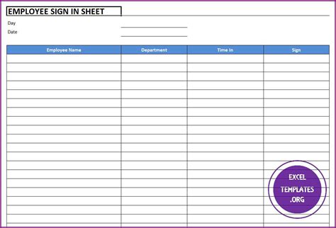employee sign  sheet template excel templates excel
