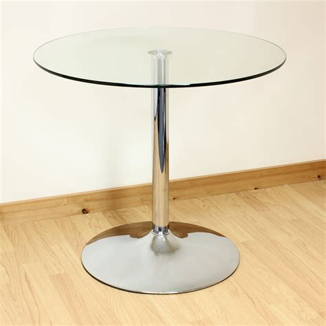 Hartleys 80cm Clearchrome Round Glass Diningkitchen