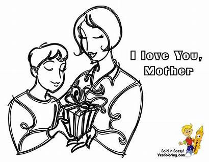 Mother Mothers Drawing Son Coloring Sheets Cartoon