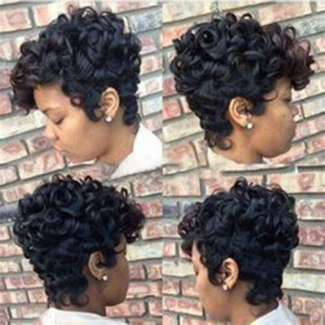 women short black brown frontcurly hairstyle synthetic