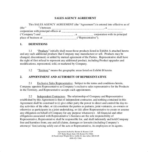 Sales Commission Letter Template by Commission Agreement Template 22 Free Word Pdf