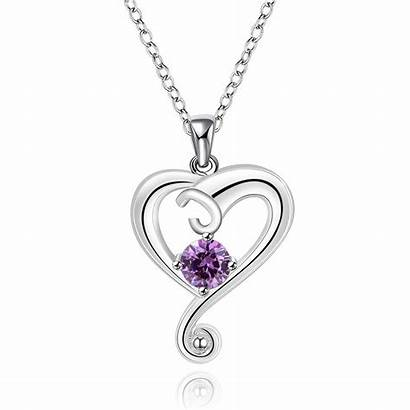 Heart Necklace Purple Jewelry Silver Stone Shipping