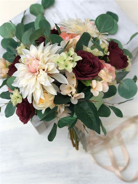 boho burgundy brides bouquet silk flower bridal bouquet