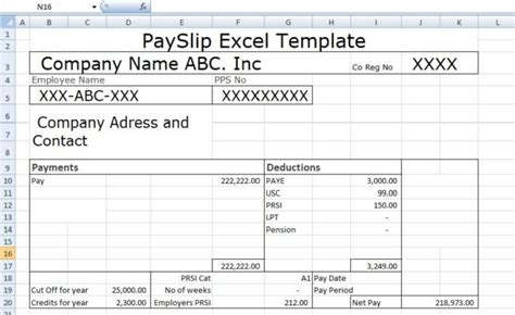 payslip template format  excel  word microsoft