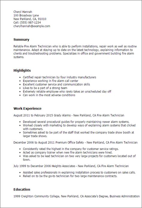 Cctv Technician Resume Format by Professional Alarm Technician Templates To Showcase