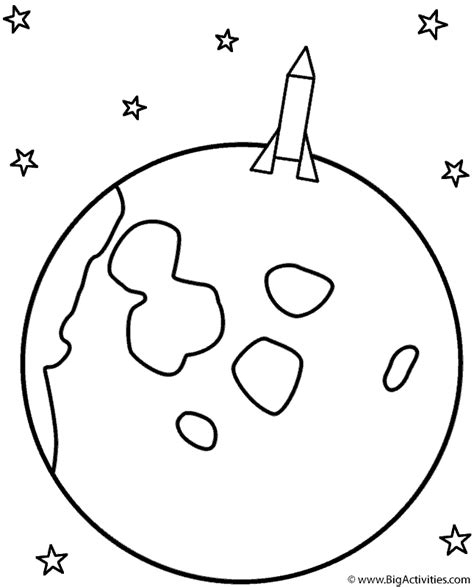 rocket landing on the moon coloring page space 498 | rocket moon