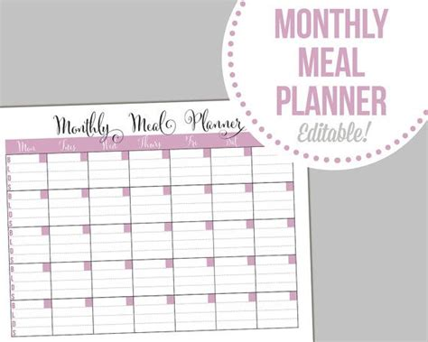 editable weekly meal planner monthly meal planner editable fillable pdf instant