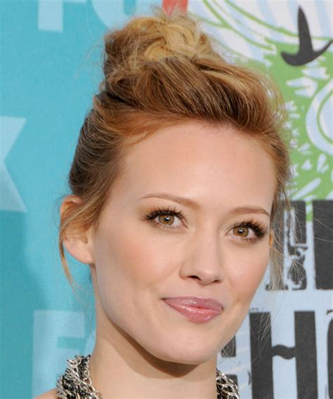 hilary duff casual long curly updo hairstyle dark copper